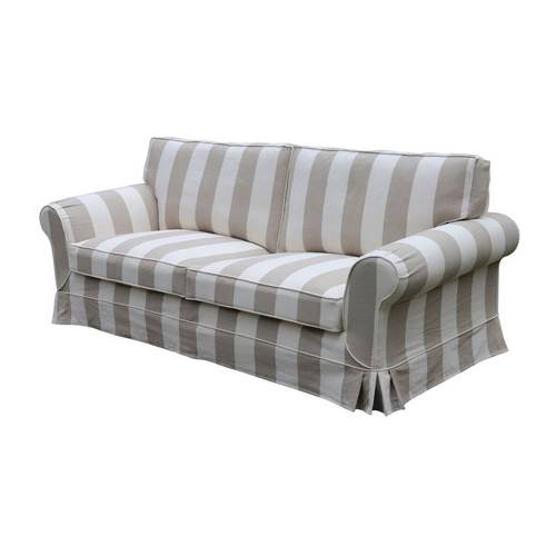 Isla Feather Filled 3 Seater Sofa Striped Natural