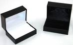 SDR2 - DOUBLE RING OR CUFFLINK BOX LEATHERETTE BLACK NO LINE BLACK PAD