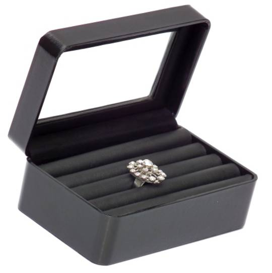 RING DISPLAY BOX LEATHERETTE BLACK 5 ROLL