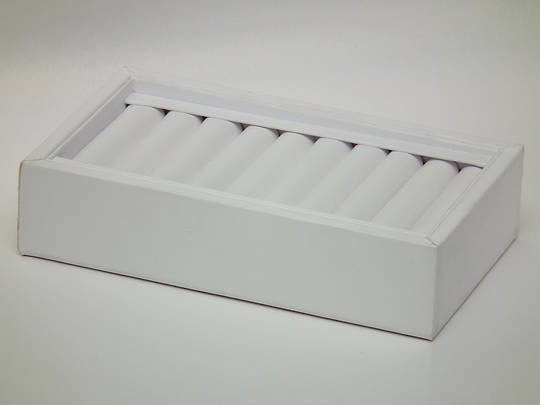 RING DISPLAY TRAY 10 ROLLS WHITE VINYL