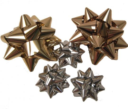 BOWS LARGE GOLD & SILVER MIXED (100 PCS)