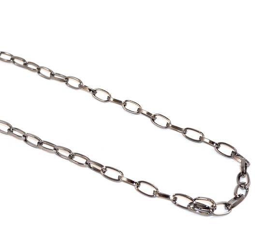C CHAIN OVAL BELCHER 12.5X6.5MM BLACK PLATED (1 MTR)