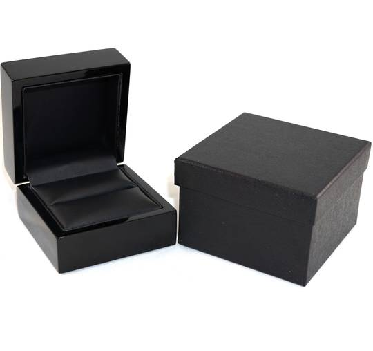 RING BOX GLOSS BLACK WOOD BLACK PAD