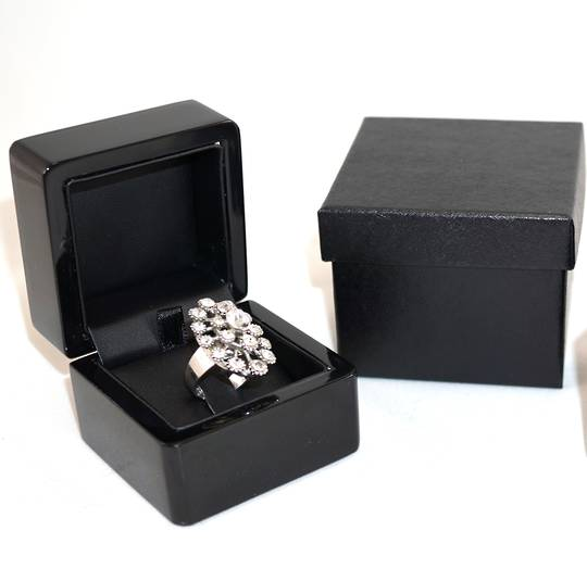 SMALL RING BOX GLOSS BLACK WOOD BLACK CLIP