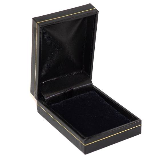 SDSP - SMALL PENDANT/EARRING BOX LEATHERETTE BLACK BLACK VELVET PAD