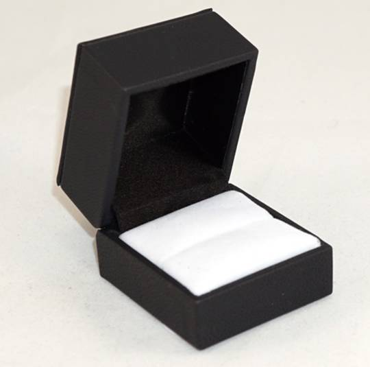 IMR - RING BOX IMITATION LEATHER BLACK WHITE VELVET PAD TWO TONES BULK DEAL (36 PCS)
