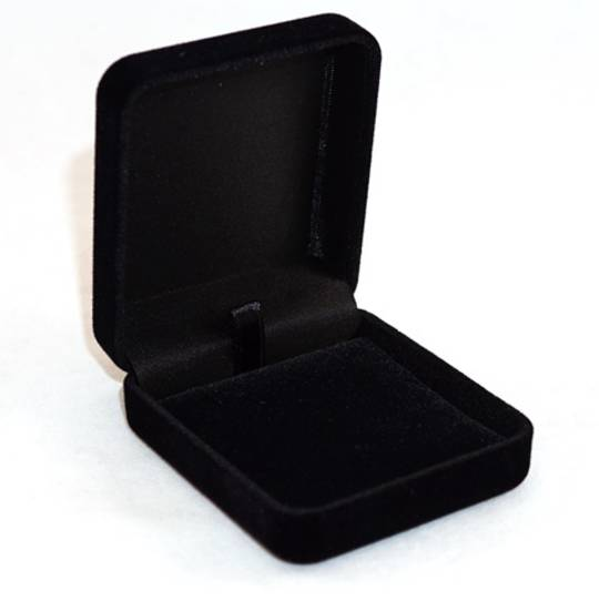 SSE - SMALL PENDANT/EARRING BOX BLACK FLOCK BLACK VELVET PAD BULK DEAL (48 PCS)
