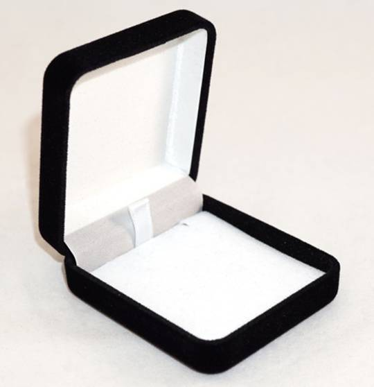 SSE - SMALL PENDANT/EARRING BOX BLACK FLOCK WHITE PAD