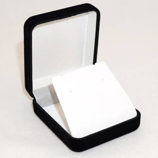 SSE - SMALL EARRING/PENDANT BOX BLACK FLOCK WHITE FLAP