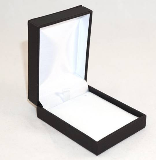 IMP - PENDANT/DROP EARRING BOX IMITATION LEATHER BLACK WHITE VELVET PAD
