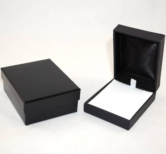 IMP PREMIUM - PENDANT/DROP EARRING BOX IMITATION LEATHER BLACK TWO TONES INSERTS & OUTER BOX