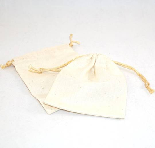 LARGE CALICO POUCH CREAM/GOLD CORD 95 X 130MM