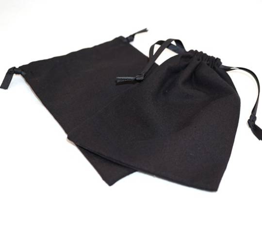 XL CALICO POUCH BLACK/BLACK RIBBON 115 X 160MM
