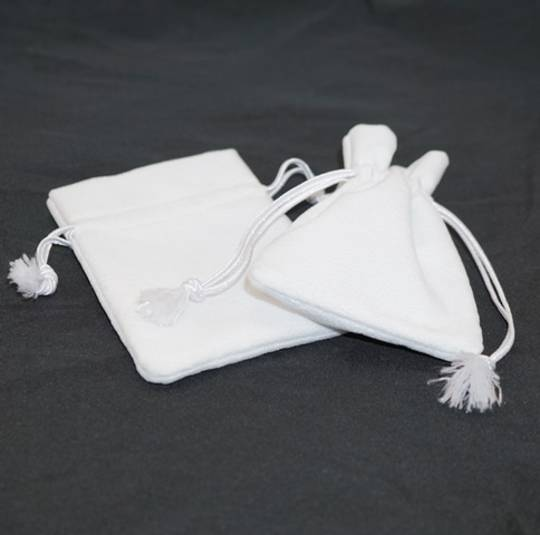 DELUXE WHITE SUEDE PARTITION POUCH MEDIUM