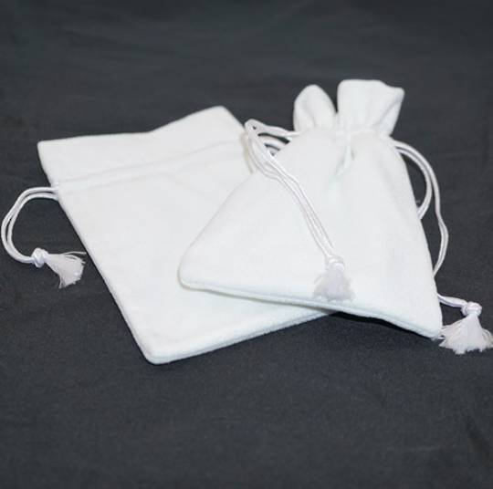 DELUXE WHITE SUEDE PARTITION POUCH LARGE