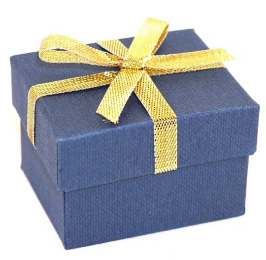 CBR156 - RING BOX CARDBOARD NAVY GOLD BOW WHITE PAD BULK DEAL (60 PCS)