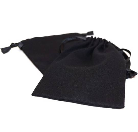 LARGE CALICO POUCH BLACK/BLACK RIBBON 95 X 130 MM