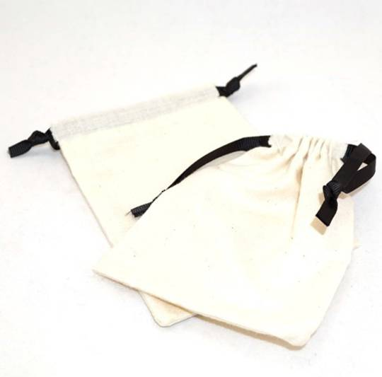 LARGE CALICO POUCH CREAM/BLACK RIBBON 95 X 130MM