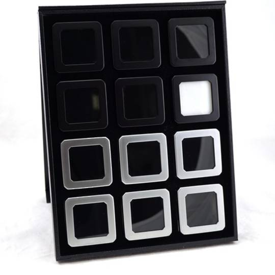 DELUXE BLACK LEATHERETTE GEM DISPLAY TRAY W/ 12 STAINLESS STEEL DISPLAY BOXES
