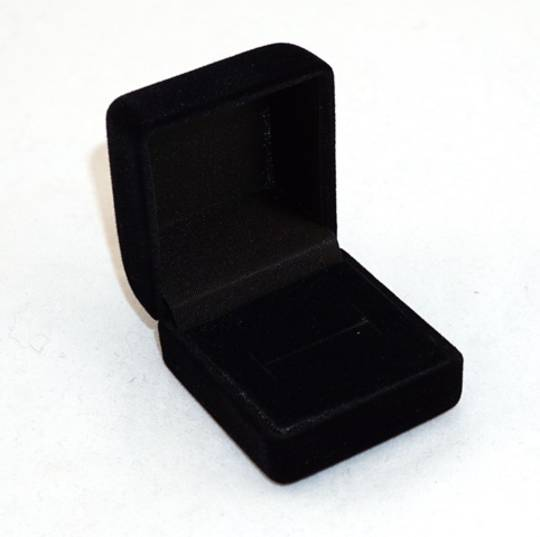 SSR1 - RING BOX BLACK FLOCK BLACK FOAM PAD BULK DEAL (48 PCS)