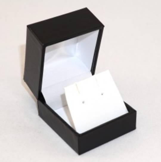 SDRFL - EARRING BOX LEATHERETTE BLACK NO LINE WHITE VINYL FLAP
