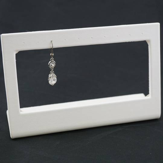 EARRING STAND 5 PAIRS DROP WHITE VINYL