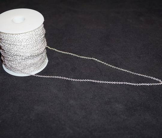 DAWN CHAIN EXTRA FINE CABLE SILVER PLATED 2.3X2.7MM (1 MTR)