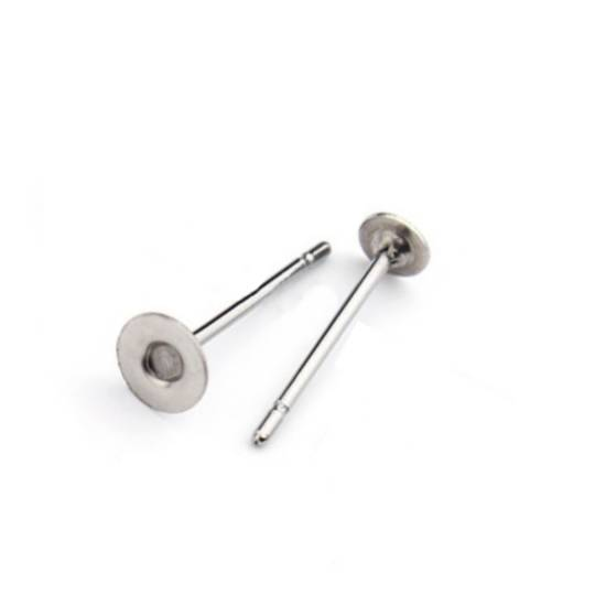 EARRING POST 3MM PAD SILVER PLATED (10 PAIRS)