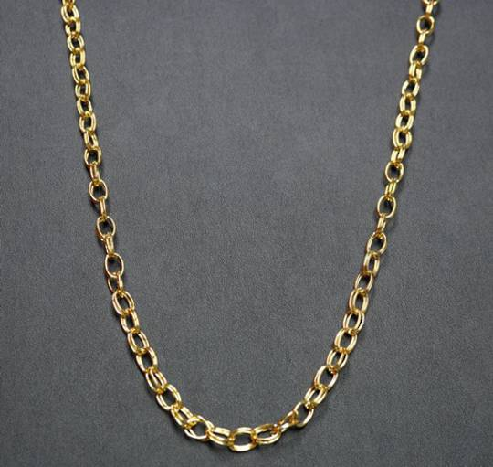 MADDI CHAIN DOUBLE OVAL BELCHER GOLD PLATED 10.5X7.5MM (1 MTR)
