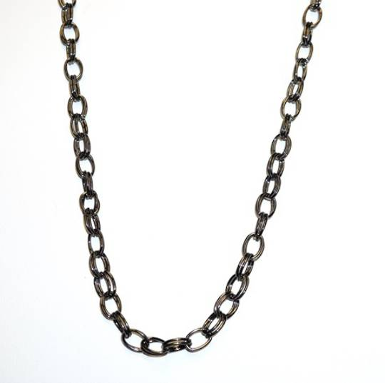 MADDI CHAIN DOUBLE OVAL BELCHER BLACK PLATED 10.5X7.5MM (1 MTR)