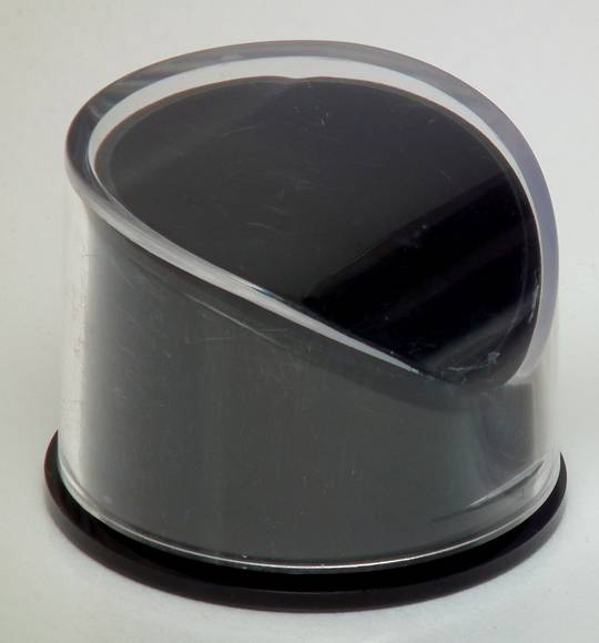 PR - RING BOX ROUND BLACK PLASTIC CLEAR LID (1 DOZ)