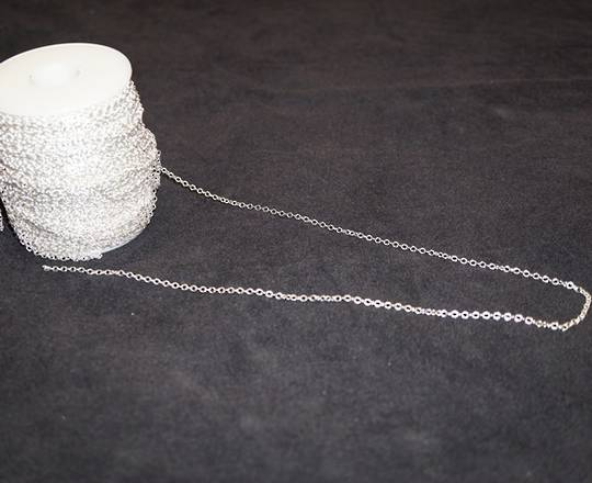 PRISCILLA CHAIN FINE CABLE SILVER PLATED 2.7X3.1MM (1 MTR)