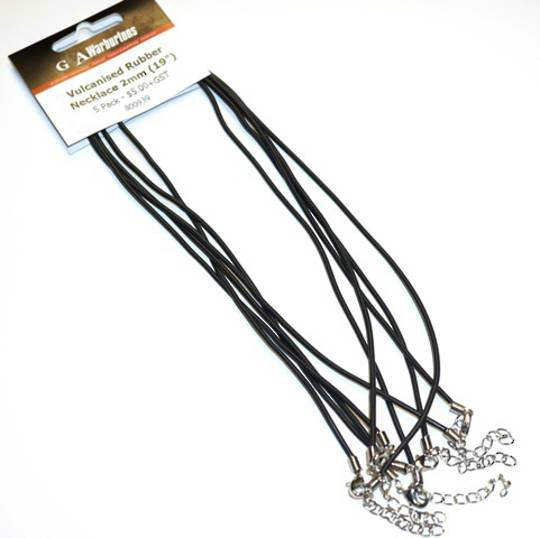 "VULCANISED RUBBER NECKLACE 2MM 19"" (47.5CM) - 5 PACK"