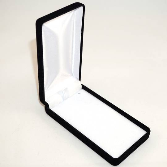 SSLP - LONG PENDANT BOX BLACK FLOCK WHITE VELVET PAD BULK DEAL (24 PCS)