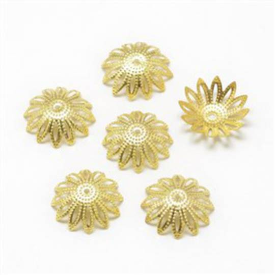 BEAD CAPS FILIGREE GOLD PLATED 10MM (10 PACK)