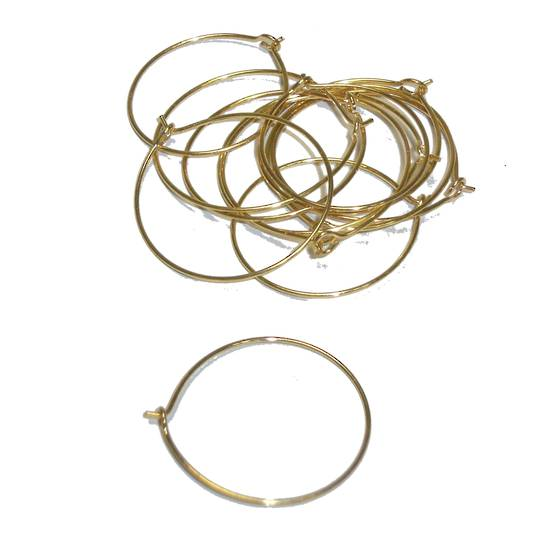 "HOOP EAR WIRES 1""/25MM GOLD PLATED (10 PAIRS)"