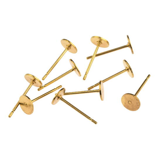 EARRING POST 6MM PAD GOLD PLATED (10 PAIRS)