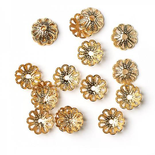 BEAD CAPS FILIGREE GOLD PLATED 10MM (50 PACK)