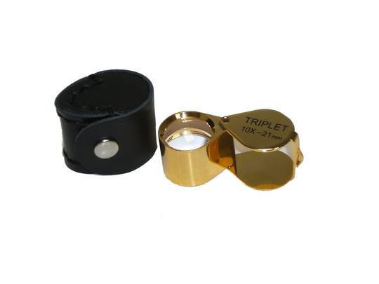 DIAMOND LOUPE 10X 21mm LENSE Gold Colour