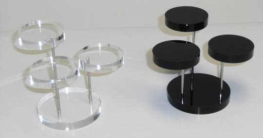 3 STEP ROUND DISPLAY STAND BLACK PERSPEX