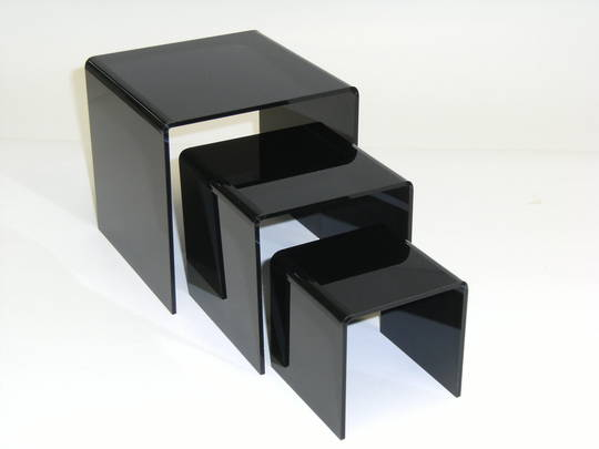 3 STEP BLACK PERSPEX DISPLAY STAND (3 PCS SET)