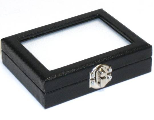 DIAMOND/GEM DISPLAY BOX BLACK/WHITE INSERT LARGE
