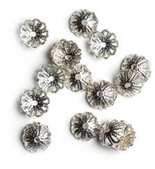 BEAD CAPS FILIGREE GUNMETAL 10MM (50 PACK)