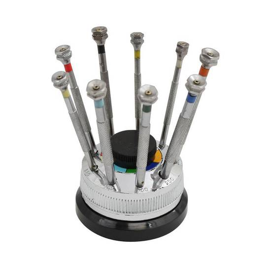 SCREWDRIVER SET (9) Rotating STAND SWISS