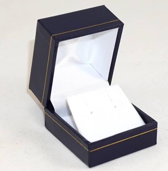 SDRFL - EARRING BOX LEATHERETTE NAVY WHITE VELVET FLAP BULK DEAL (36 PCS)