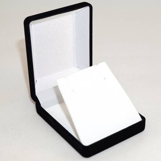 SSP1 - MEDIUM EARRING / PENDANT BOX BLACK FLOCK WHITE VELVET FLAP