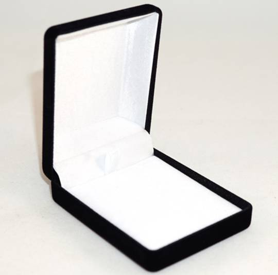 SSP1 - MEDIUM PENDANT / EARRING BOX BLACK FLOCK WHITE VELVET PAD