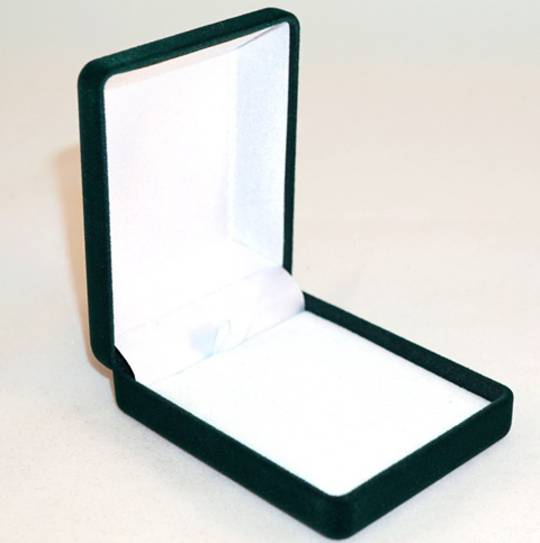 SSP1 - MEDIUM PENDANT / EARRING BOX GREEN FLOCK WHITE VELVET PAD