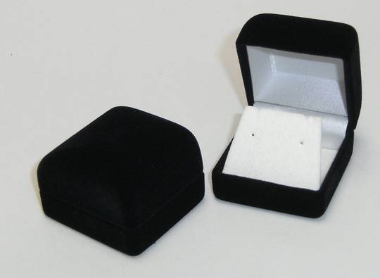 SSR1 - EARRING BOX BLACK FLOCK WHITE FLAP