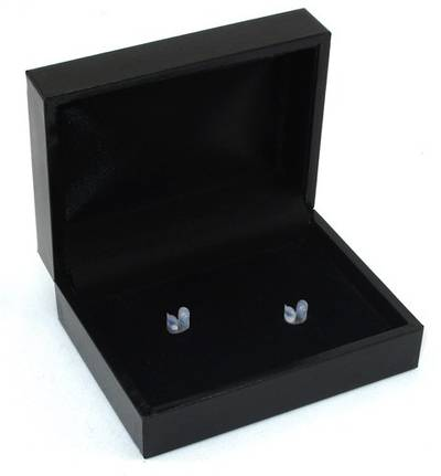SC17H - CUFFLINK BOX LEATHERETTE BLACK NO LINE BLACK PAD & CLIPS